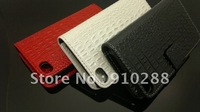 For iPhone 4s Leather Case, Wallet Leather Case for iPhone 4, Croco Style