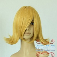 Free shipping 14inches the new fashion cheap gold cosplay hair wigs color wholesalers
