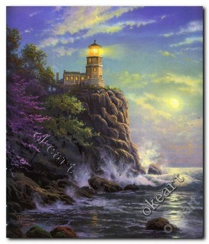 Free shipping Split rock light Thomas kinkade seascape prints modern home decor landscape paintings 0229