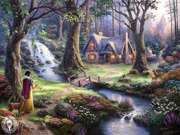 Free shipping Snow White Discovers the Cottage ART print Thomas kinkade art decorative furniture office decor 0318