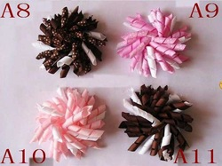 Wholesale - Free Shipping Children's curlers bows flowers hair barrettes baby's korker ribbon hair clips 200pcs(China (Mainland))