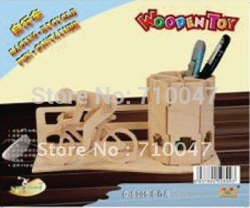Sports New Wood Assembly DIY toy for 3D wooden model puzzles of pen container (bicyle) F20012