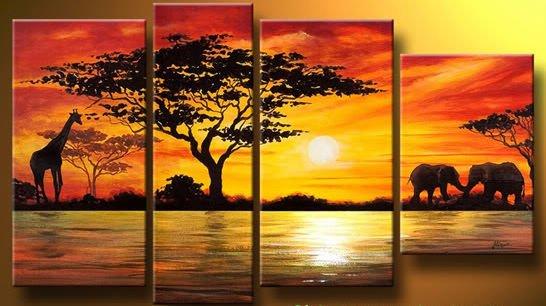 La artesanía del paisaje pintura al óleo: campo de áfrica jirafa ...