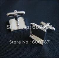 free shipping,50pcs/lot french 18mm square Silver cufflinks blank,  cufflink base, metal cufflinks, fashion jewelry cufflinks