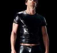 ManstoreMen vest smooth patent leather black stretch close to a short-sleevedTShirt