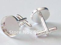 freeshipping, high quality sterling silver cufflink base, cufflink blank, cufflink setting: choose size 16, 18, 20, 25mm