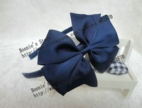 "free shipping 100pcs/lots Navy hairband with 3.9"" coco bow lovey headband for School and Club"