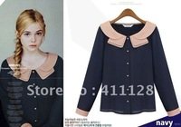 Free shipping 2012 spring new European style lotus leaf Chiffon shirt