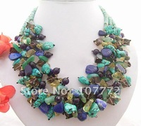 Stunning! Turquoise&lapis&Amethyst Necklace  +free shippment