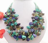 Stunning! Turquoise&lapis&Amethyst Necklace  +free shippment