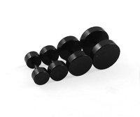 Earrings Cheater Steel Black Fake Ear Plug ear studs mixed 4 size body jewelry 100pcs/lot