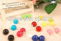 HOT:Wholesale fashion trendy colorful ball earrings, hot sell cute ball earrings, lovely popular ball earrings+free shipping-1