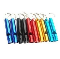 100pcs/lot Free shipping Aluminum Emergency Survival Whistle Key Chain Guaranteed 100%
