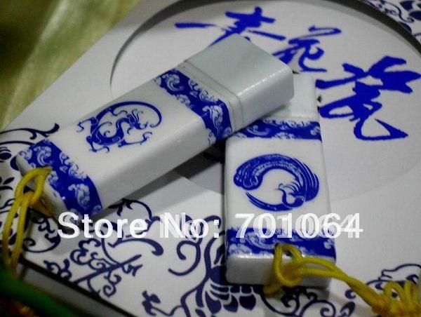 Free shipping: China traditional nature customs 8GB Ceramic USB flash driver (20pcs/lot)(Hong Kong)