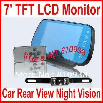 7inch car reversing camera monitor kits=Car Rear View Night Vision Backup Camera + 7'' TFT LCD Color Monitor Mirror