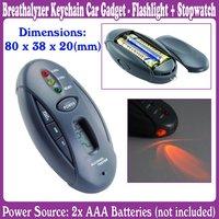 10pcs/Lot_Breathalyzer Keychain Car Gadget - Flashlight + Stopwatch_Free Shipping