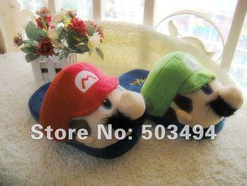 Free Shipping Super Mario LUIGI Soft Plush Stuffed Warm Slipper Super mario slippers Super mario and luigi slippers