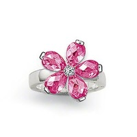 wholesale  and dropshiping sterling silver pink flower finger  ring
