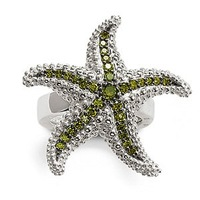 wholesale  and dropshiping sterling silver small size    Star Fish ring, with green zirconia