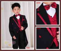 Free shipping Clean CLEARANCE SALE Black 2-12 Years Boy Suit 6 Pieces Set : Tuxedos+Vest+Pant+Shirt+Bow Tie+Belt