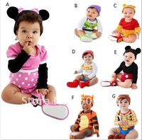 Детский комбинезон 4pcs/lot baby boy/girl cartoon bodysuit long sleeve bodysuit five different designs cotton bodysuit