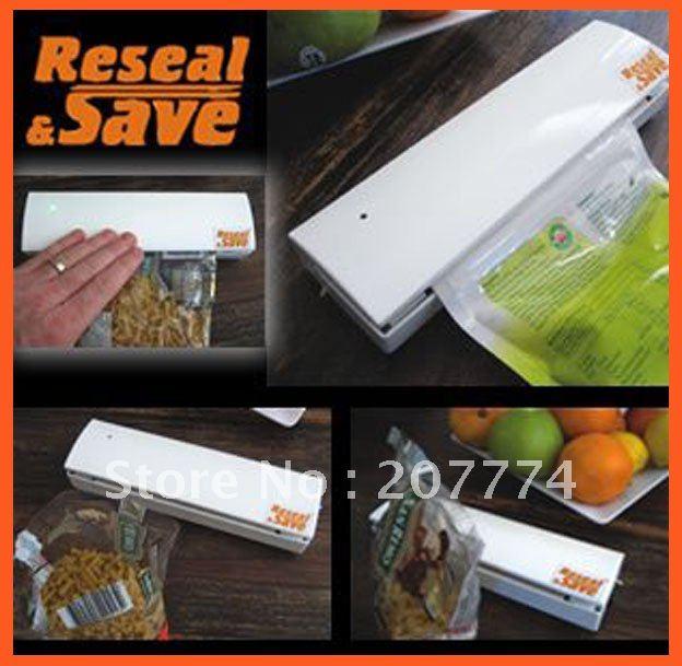 Reseal Save Portable Vacuum Sealer Save Airtight Plastic Bag Preserve Food As Seen On TV Free Shipping(China (Mainland))