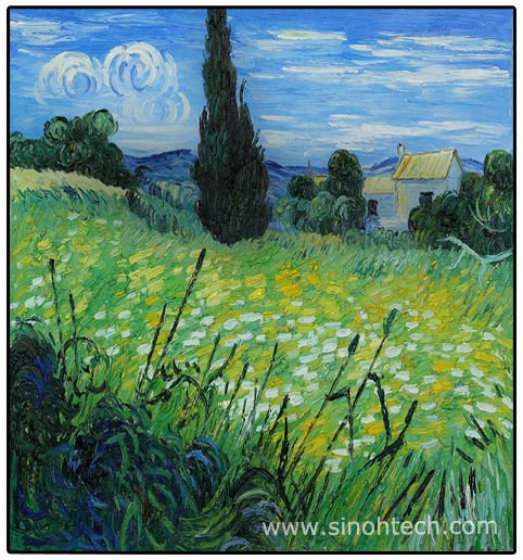 24*36inch Van Gogh Green Wheat Field with Cypress II Rep Oil Painting 100% Handmade on Canvas Free Shipping to All Countries(China (Mainland))