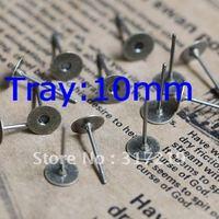 500pcs 10mm Antique Bronze Copper Earring studs tray,Brass stud earrings accessories,earrings base setting