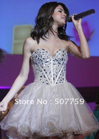 Selena Gomez Nude Beaded Layered Sweetheart Short Prom Dresses Corset ...