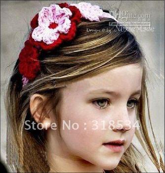 Stretchy Cotton Flower Headband Crochet headbands with big flower crochet headband 50pcs df