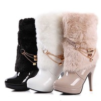 2013 new sexy black patent leather boots mid calf  heels chains boots womens snow boots RXE-50-23