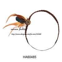 Free shipping! Wholesale-24pcs/lot leather plaited headband with feather