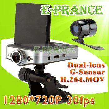 Dual Lens HD720P Car DVR Recorder Support External Camera  H.264 Video Code G-sensor  120 Degree wide angel Lens