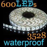 Free Shipping New 100% 1Pcs  Fashion3528 Cool White LED Strips Flexible Tape 5m 120led/m 600leds Waterproof IP65 Car