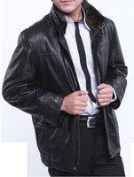 100% lambskin removable mink first grade men's Mink  inner jacket keep warm Mink  collar men's leahter jacket freeshipping