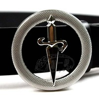 "Free shipping Men Circle Sword Buckle Genuine Leather 1.3"" Black Belt Casual Belt genuine leather belt BT-ML263 SM-XXL"