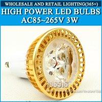 High power led spotlight 3W Cold white/warm white AC85-265V GU10 Free Shipping