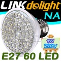 Bright LED bulb 3W E27 220V Cold White light LED lamp with 60 led 180 degree Spot light  Free shipping