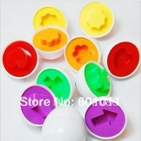 New arrive Trialsale 12pcs Hotsale Colorful egg shape puzzle for kids 3D shape puzzle toy Free shipping