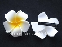 FREE SHIPPING 200PCS 6CM PLUMERIA FOAM FLOWER HAWAIIAN FOAM FLOWER HAIR FLOWER WITH CLIPS