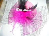 Bowknot Mini Top Hat Lolita Cosplay Wedding BLK FEATHER handmade 12pcs/lot