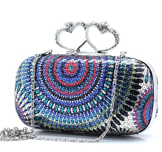 2012 vintage Skull purse,Black Skull Knuckle Rings Handbag Clutch Evening Bag With shoulder Chain Perfect free shopping BC085