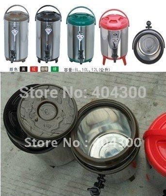 Garrafa térmica de aço inoxidável 12L balde garrafa térmica de chá da bolha equipamentos essenciais quente & cool balde refrigerador balde de cerveja balde(China (Mainland))