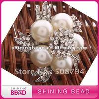 New Charming Ivory Pearl Crystal Rhinestones Brooch+45mm+Free Shipping