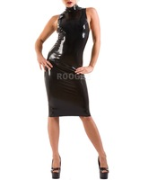 black close fitting latex dress
