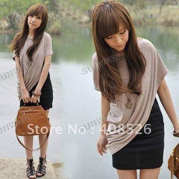 Fashion Women's Short Batwing Sleeve T-Shirt Two-Piece Casual Cotton Blends Mini Dress Free Shipping (Drop shipping support)2861
