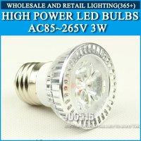 Wholesale 50PCS High power led spotlight 3W Silver white/warm white AC85-265V B22 Free Shipping / DHL