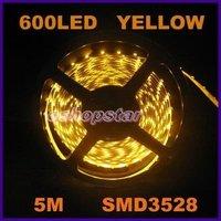 Free Shipping+High Quality New 1Pcs 600 Leds 5M SMD 3528 LED Strip Light Yellow Flexible Light 120 leds/Meter
