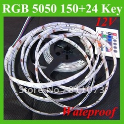 Freeshipping+5M Waterproof SMD Strip 5050 RGB 150 LED 30 LEDs/M Light + 24 Key Controller(China (Mainland))
