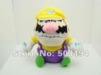 "Free Shipping Retail 1 pcs Dropship  Super Mario Bros WARIO 9"" Plush Doll Soft Toy Super wario plush toy sitting wario plush"
